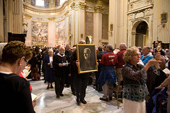 Procession with the image of Brother Andre at Sant Andrea della valle