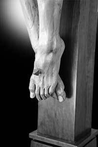 Carving of Jesus' Feet on a Crucifix