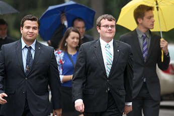 Chris Lovett walking to the Basilica with fellow Old Collegian James Walters
