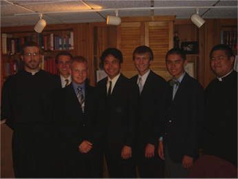 Old Collegians with Seminarian Matt Fase, CSC and Deacon Brian Ching, CSC