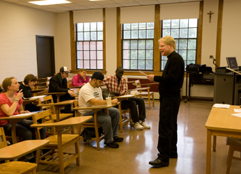 Fr Kevin Spicer, CSC teaching