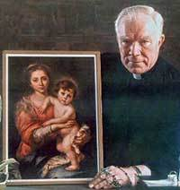 Fr Patrick Peyton, CSC with a painting of the Madonna and Child