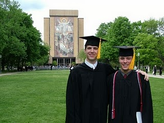 Mr Chris Mader and a friend after his Notre Dame graduation