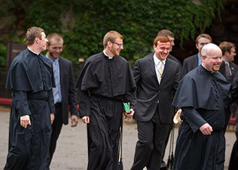 Michael Thomas, CSC with his fellow seminarians