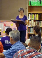 Connie Valenzuela gives a presentation at RCIA