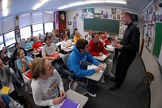 Fr Nate Wills, CSC teaching high school